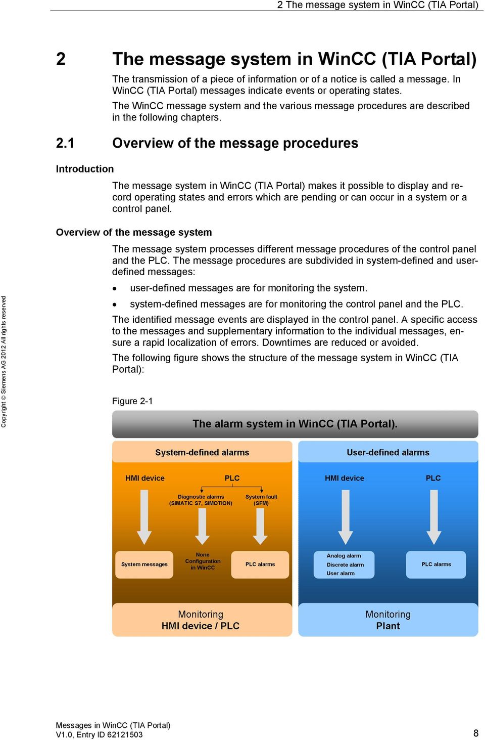 1 Overview of the message procedures Introduction The message system in WinCC (TIA Portal) makes it possible to display and record operating states and errors which are pending or can occur in a