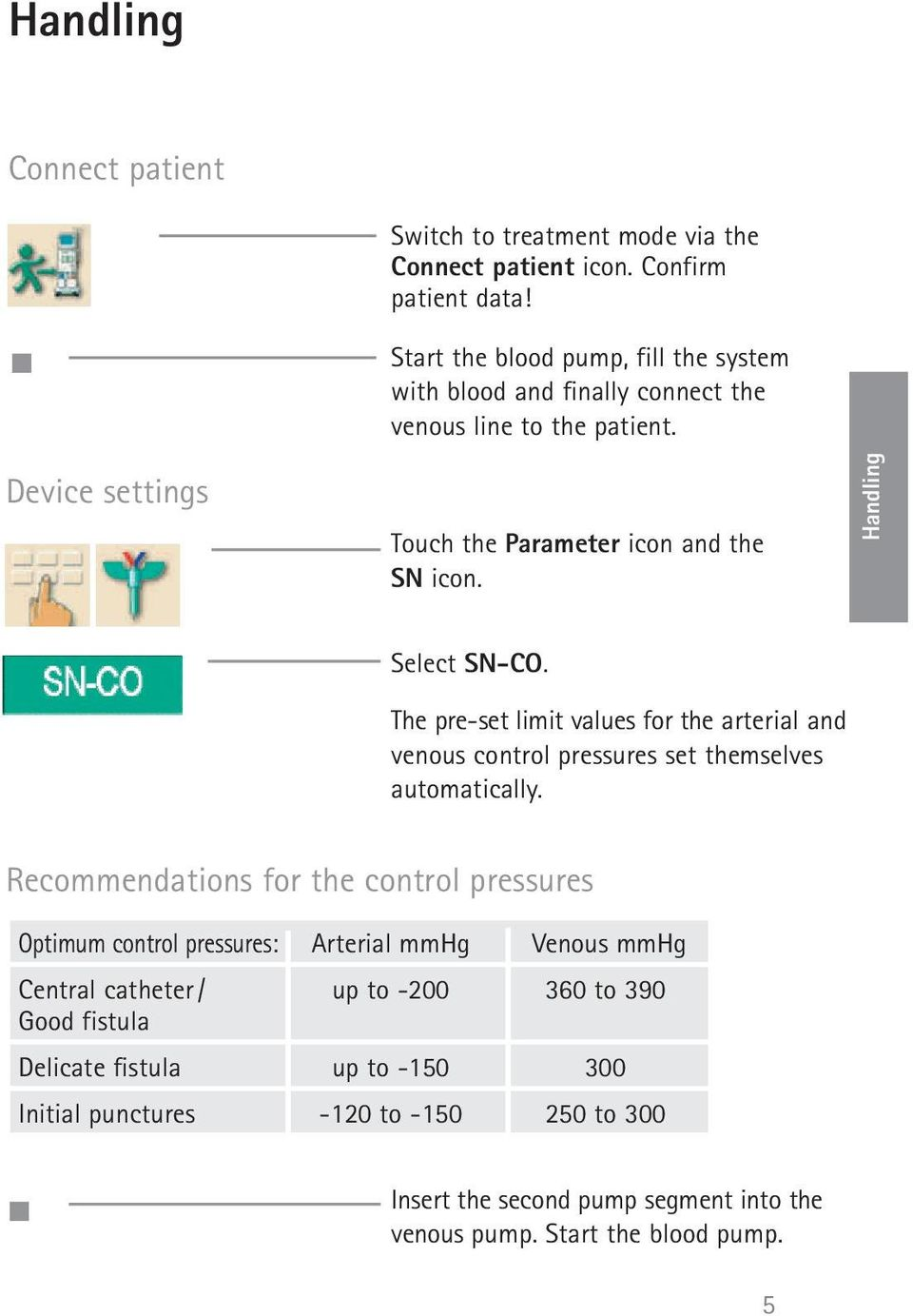 Handling Select SN-CO. The pre-set limit values for the arterial and venous control pressures set themselves automatically.