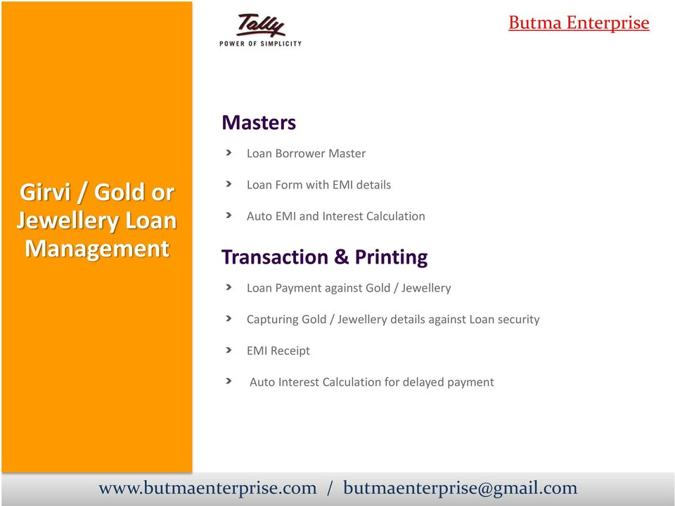 Printing Loan Payment against Gold / Jewellery Capturing Gold / Jewellery