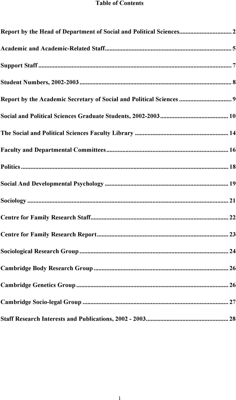 .. 14 Faculty and Departmental Committees... 16 Politics... 18 Social And Developmental Psychology... 19 Sociology... 21 Centre for Family Research Staff.