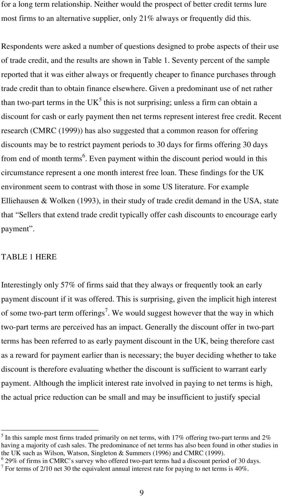 Seventy percent of the sample reported that it was either always or frequently cheaper to finance purchases through trade credit than to obtain finance elsewhere.