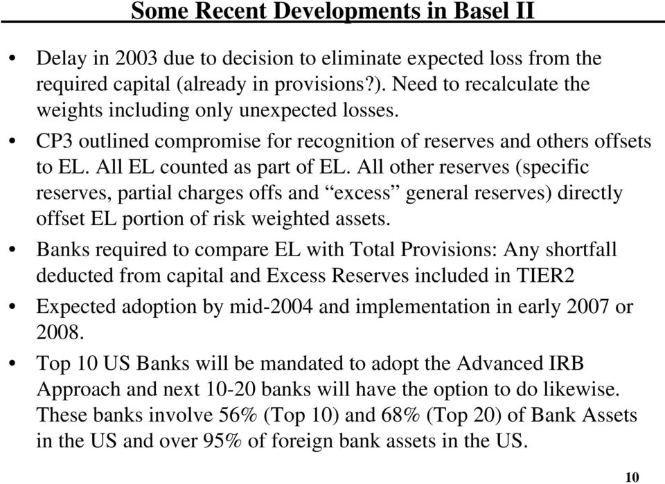 All other reserves (specific reserves, partial charges offs and excess general reserves) directly offset EL portion of risk weighted assets.