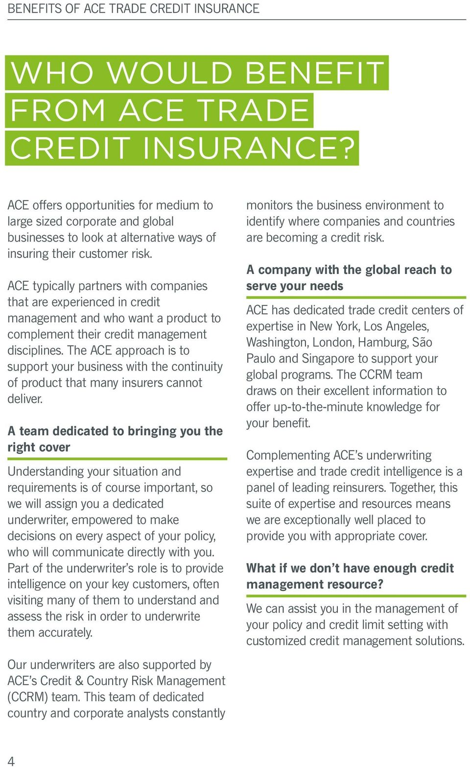 ACE typically partners with companies that are experienced in credit management and who want a product to complement their credit management disciplines.