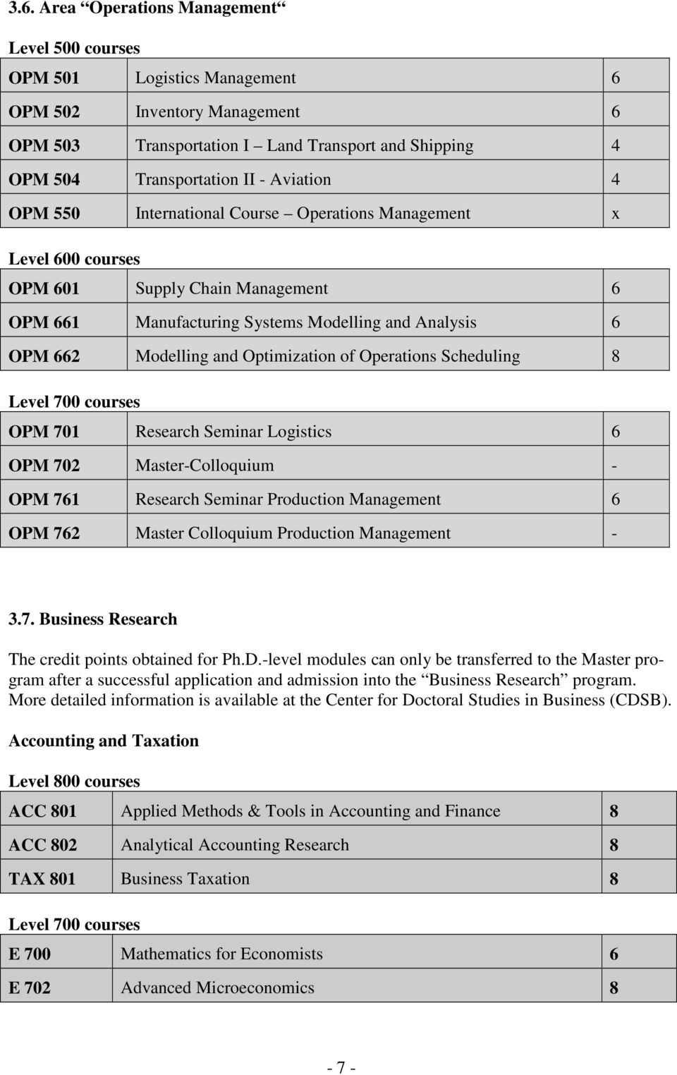 Optimization of Operations Scheduling 8 Level 700 courses OPM 701 Research Seminar Logistics 6 OPM 702 Master-Colloquium - OPM 761 Research Seminar Production Management 6 OPM 762 Master Colloquium