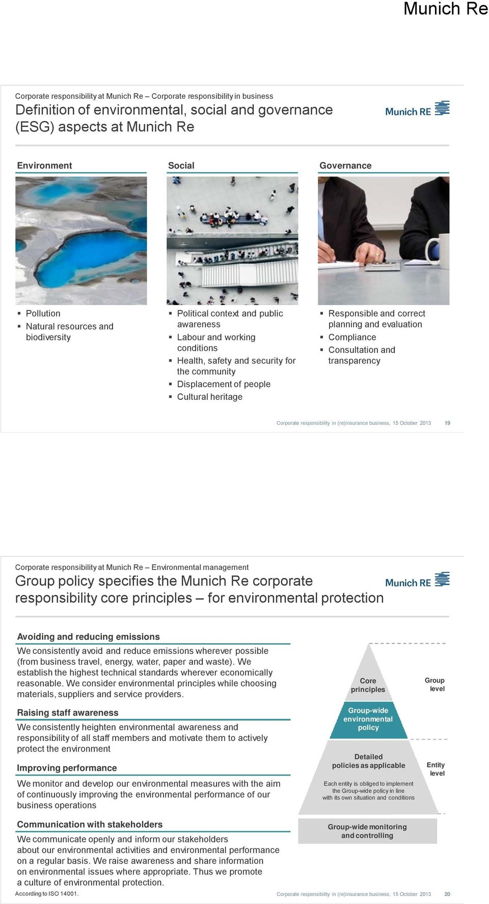 Responsible and correct planning and evaluation Compliance Consultation and transparency 19 Corporate responsibility at Munich Re Environmental management Group policy specifies the Munich Re