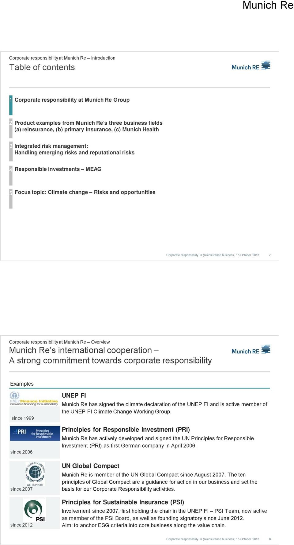 Overview Munich Re s international cooperation A strong commitment towards corporate responsibility Examples since 1999 since 2006 since 2007 since 2012 UNEP FI Munich Re has signed the climate