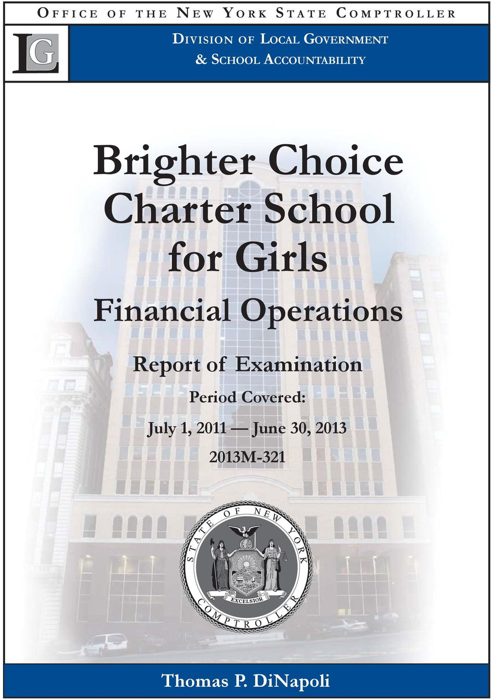 School for Girls Financial Operations Report of Examination