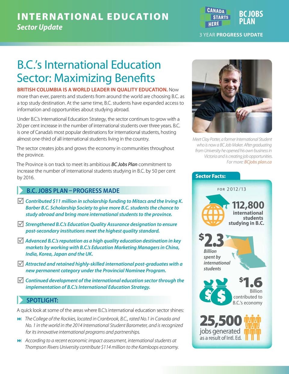 Under B.C. s International Education Strategy, the sector continues to grow with a 20 per cent increase in the number of international students over three years. B.C. is one of Canada s most popular destinations for international students, hosting almost one-third of all international students living in the country.
