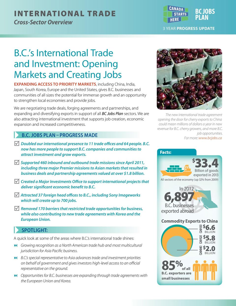 s International Trade and Investment: Opening Markets and Creating Jobs EXPANDING ACCESS TO PRIORITY MARKETS, including China, India, Japan, South Korea, Europe and the United States, gives B.C. businesses and communities of all sizes the potential for immense growth and an opportunity to strengthen local economies and provide jobs.