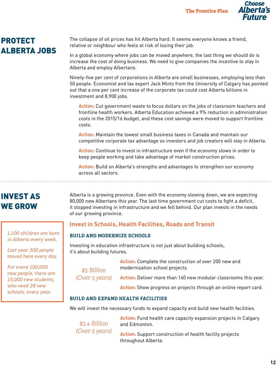 We need to give companies the incentive to stay in Alberta and employ Albertans. Ninety-five per cent of corporations in Alberta are small businesses, employing less than 50 people.