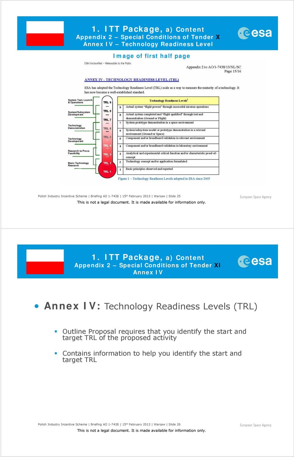 ITT Package, a) Content Appendix 2 Special Conditions of Tender XI Annex IV Annex IV: Technology Readiness Levels (TRL) Outline Proposal requires