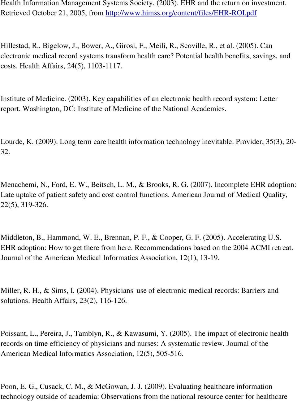 Health Affairs, 24(5), 1103-1117. Institute of Medicine. (2003). Key capabilities of an electronic health record system: Letter report. Washington, DC: Institute of Medicine of the National Academies.