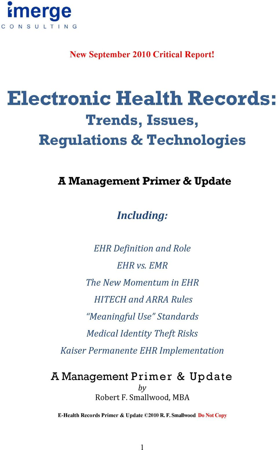 EHR Definition and Role EHR vs.