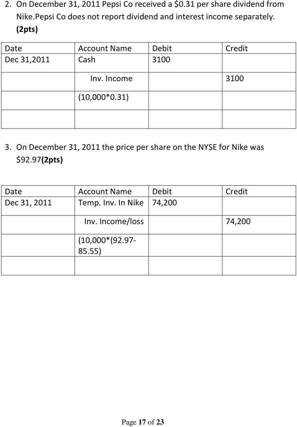 (2pts) Dec 31,2011 Cash 3100 Inv. Income 3100 (10,000*0.31) 3.