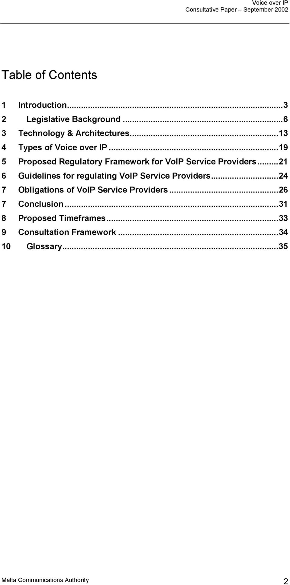 ..19 5 Proposed Regulatory Framework for VoIP Service Providers.