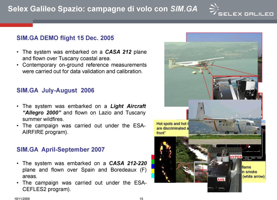GA July-August 2006 The system was embarked on a Light Aircraft Allegro 2000 and flown on Lazio and Tuscany summer wildfires. The campaign was carried out under the ESA- AIRFIRE program). SIM.