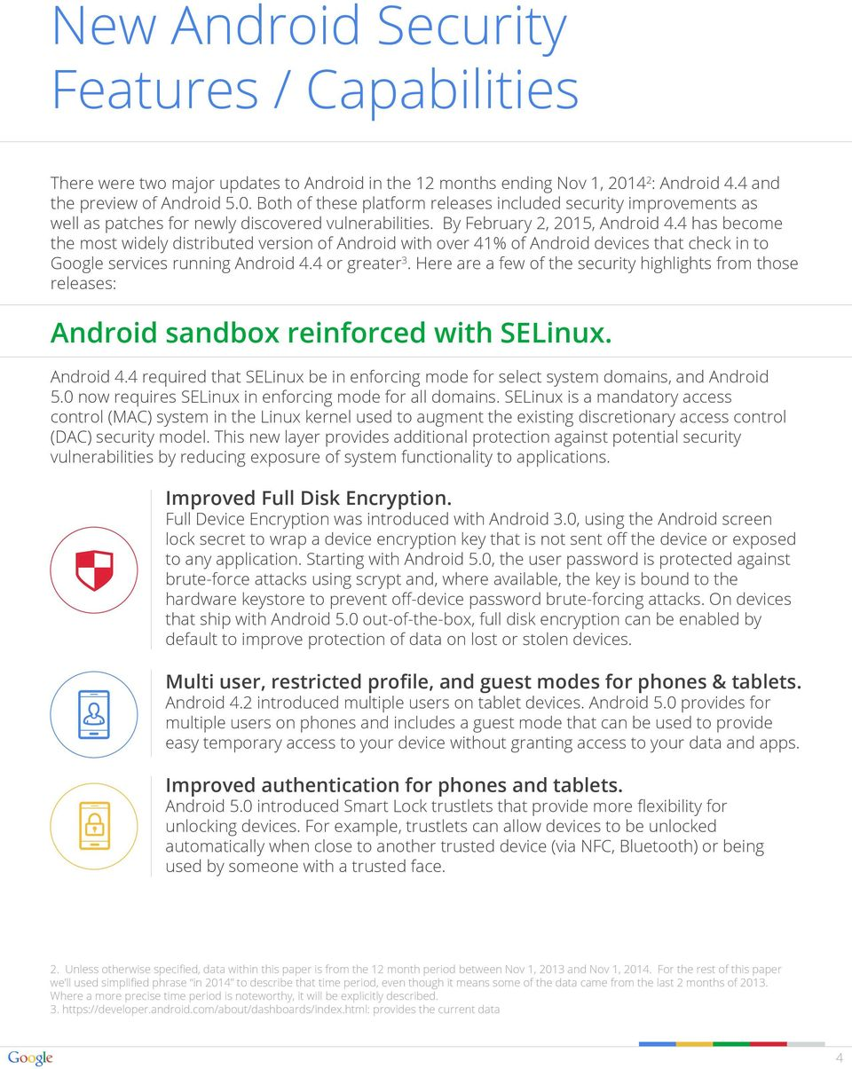 By February 2, 2015, Android 4.4 has become the most widely distributed version of Android with over 41% of Android devices that check in to Google services running Android 4.4 or greater 3.