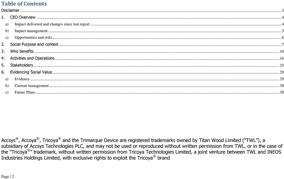 .. 30 Accsys, Accoya, Tricoya and the Trimarque Device are registered trademarks owned by Titan Wood Limited ( TWL ), a subsidiary of Accsys Technologies PLC, and may not be used or reproduced