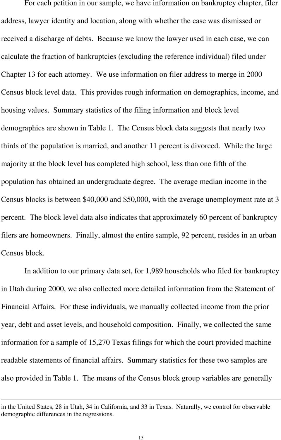 We use information on filer address to merge in 2000 Census block level data. This provides rough information on demographics, income, and housing values.