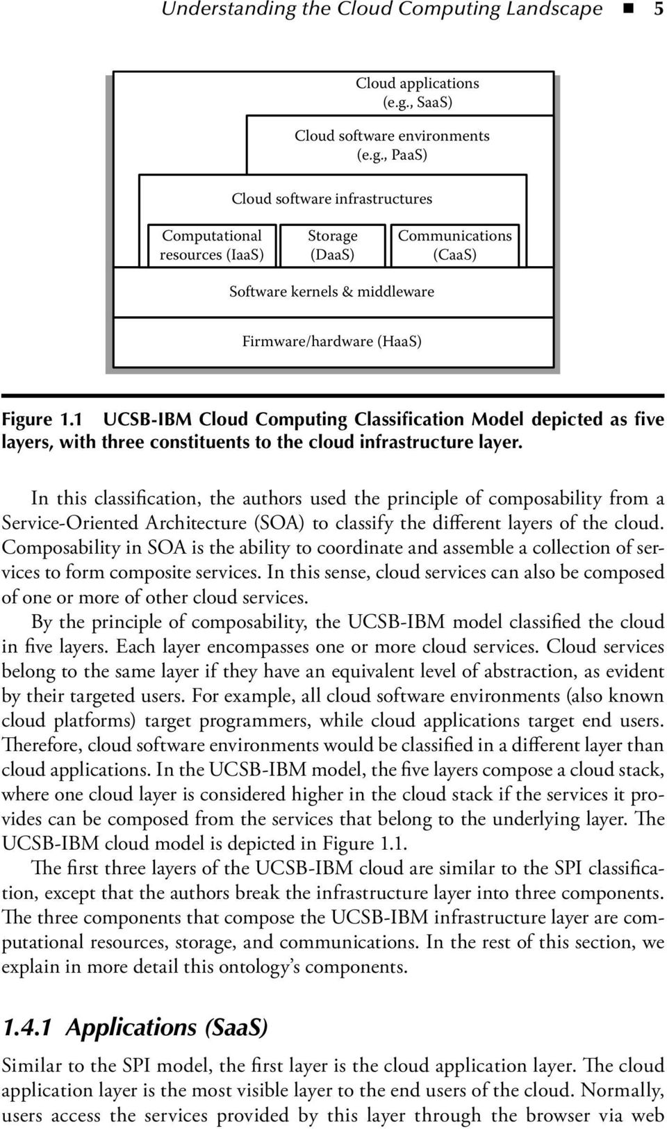 In this classification, the authors used the principle of composability from a Service-Oriented Architecture (SOA) to classify the different layers of the cloud.
