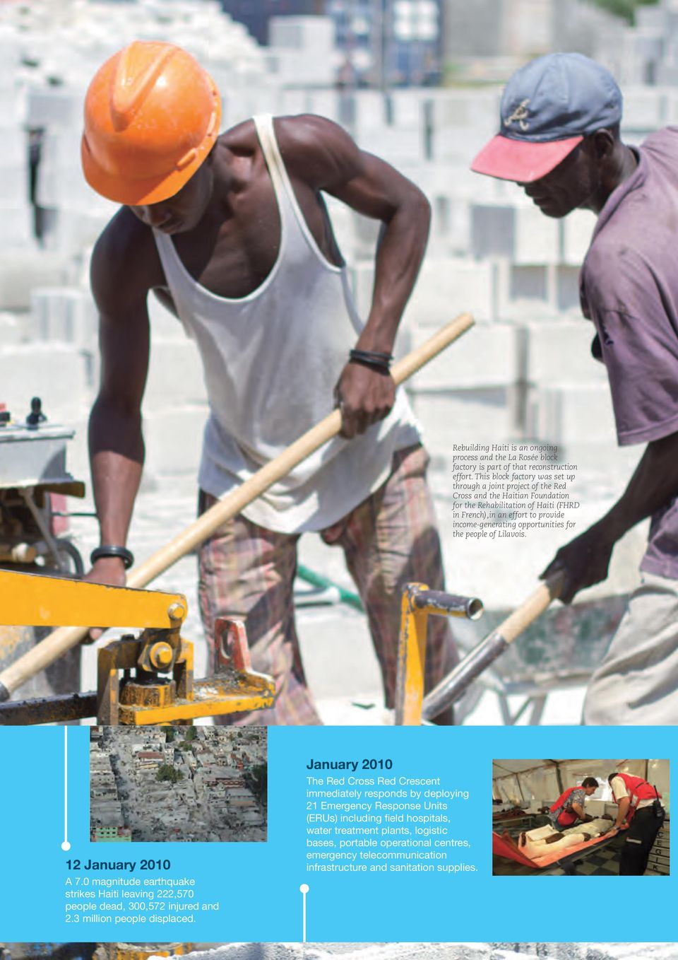income-generating opportunities for the people of Lilavois. 12 January 2010 A 7.0 magnitude earthquake strikes Haiti leaving 222,570 people dead, 300,572 injured and 2.