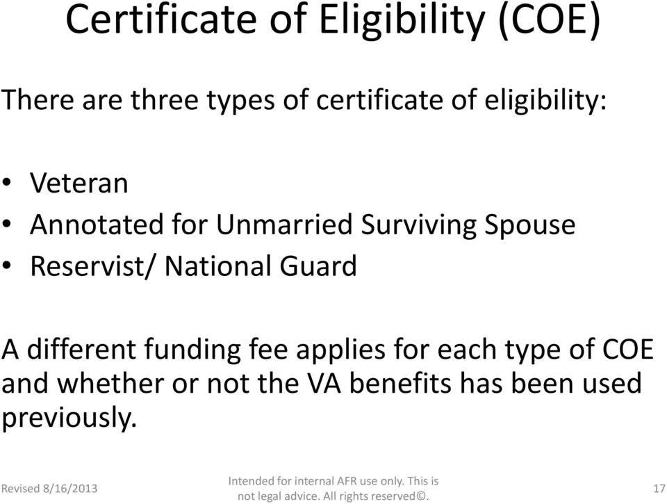 Reservist/ National Guard A different funding fee applies for each
