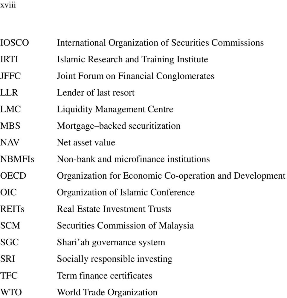 value Non-bank and microfinance institutions Organization for Economic Co-operation and Development Organization of Islamic Conference Real Estate
