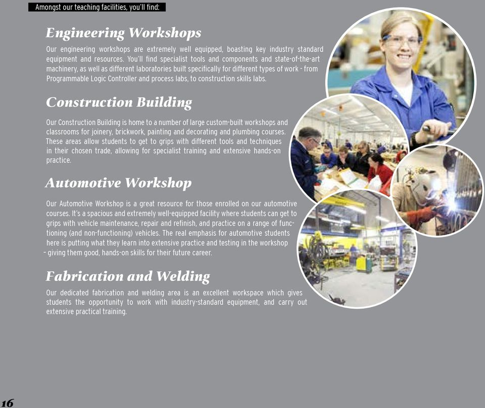 process labs, to construction skills labs.