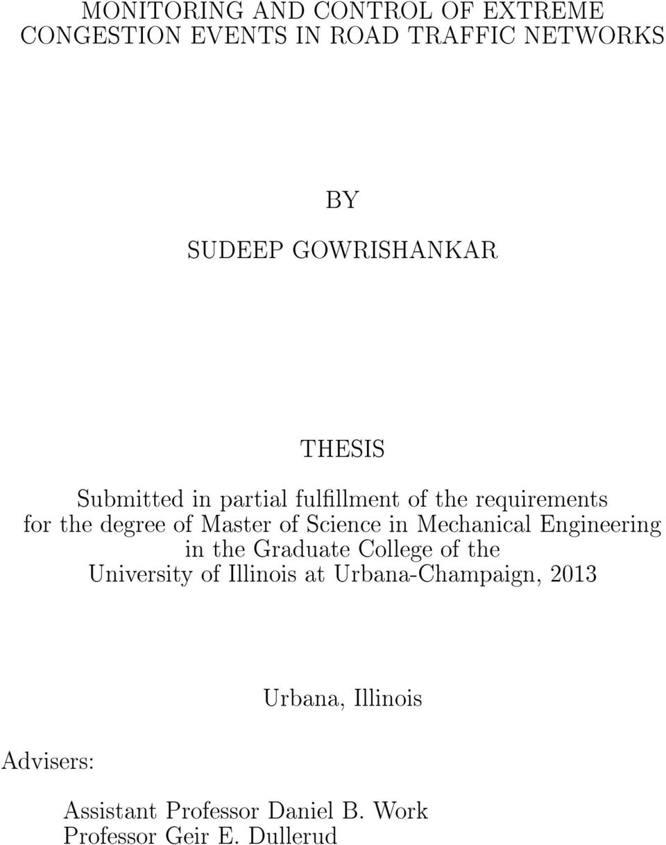 of Science in Mechanical Engineering in the Graduate College of the University of Illinois at