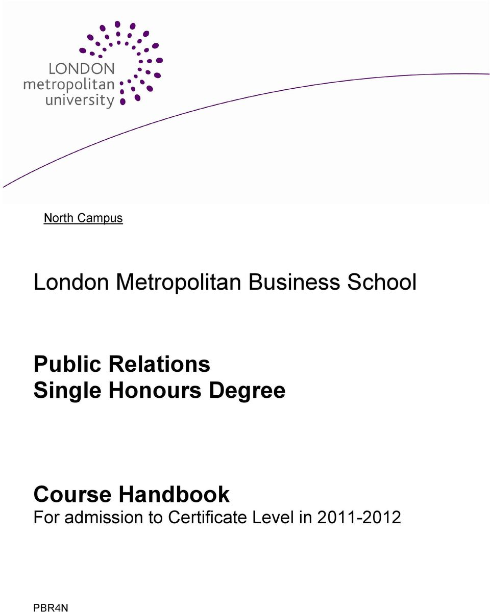 Honours Degree Course Handbook For