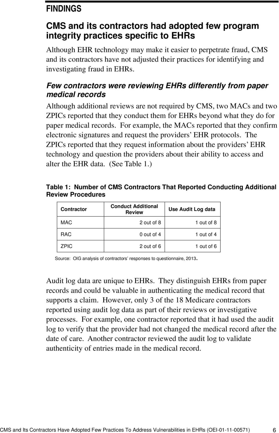 Few contractors were reviewing EHRs differently from paper medical records Although additional reviews are not required by CMS, two MACs and two ZPICs reported that they conduct them for EHRs beyond