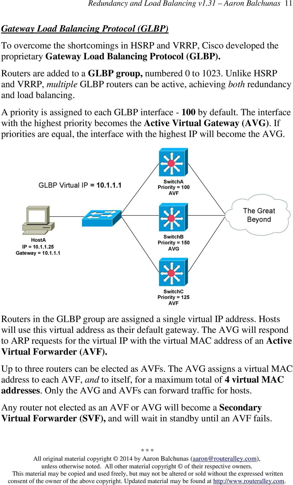 A priority is assigned to each GLBP interface - 100 by default. The interface with the highest priority becomes the Active Virtual Gateway (AVG).