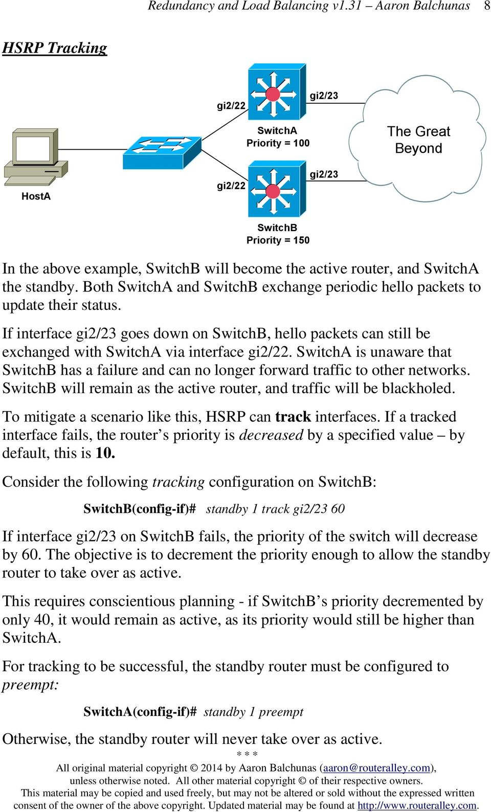 SwitchA is unaware that SwitchB has a failure and can no longer forward traffic to other networks. SwitchB will remain as the active router, and traffic will be blackholed.