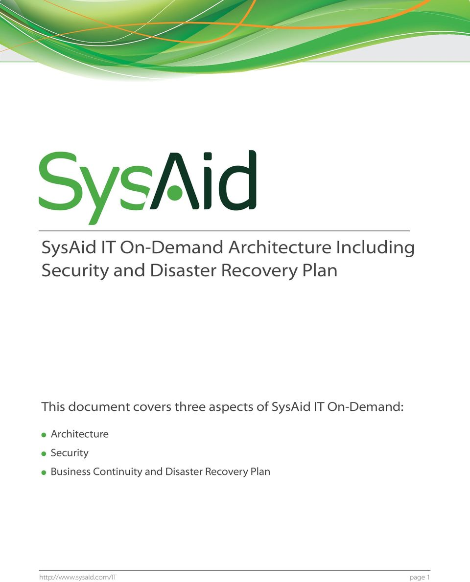 of SysAid IT On-Demand: Architecture Security Business