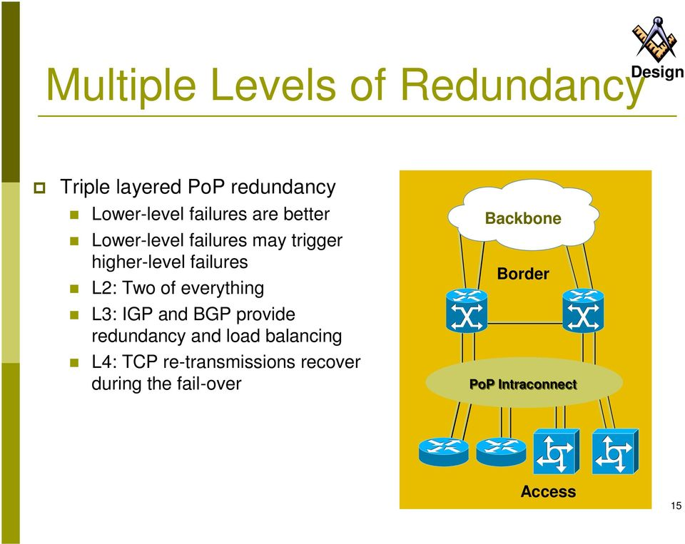 L3: IGP and BGP provide redundancy and load balancing L4: TCP re-transmissions