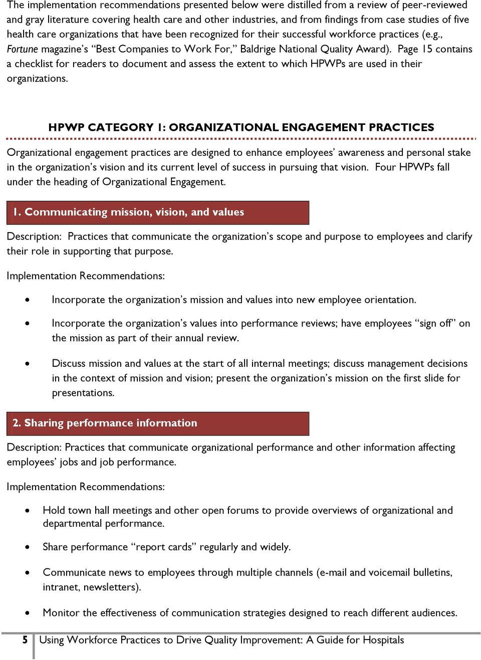 Page 15 contains a checklist for readers to document and assess the extent to which HPWPs are used in their organizations.