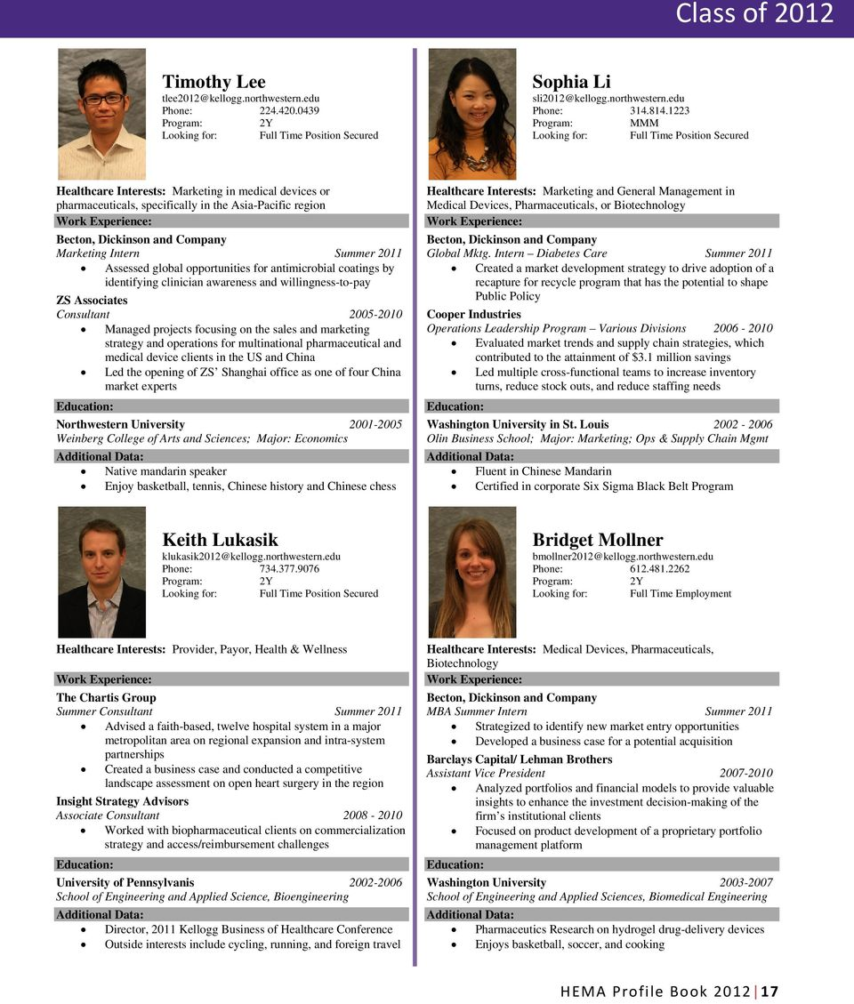 Intern Summer 2011 Assessed global opportunities for antimicrobial coatings by identifying clinician awareness and willingness-to-pay ZS Associates Consultant 2005-2010 Managed projects focusing on