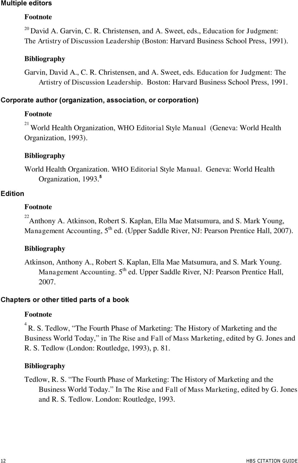 Corporate author (organization, association, or corporation) Edition 21 World Health Organization, WHO Editorial Style Manual (Geneva: World Health Organization, 1993). World Health Organization. WHO Editorial Style Manual. Geneva: World Health Organization, 1993.