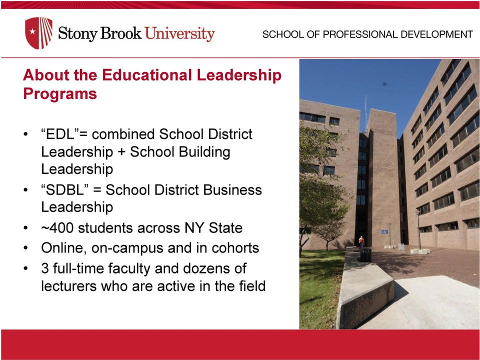 District Business Leadership ~400 students across NY State Online, on-campus and