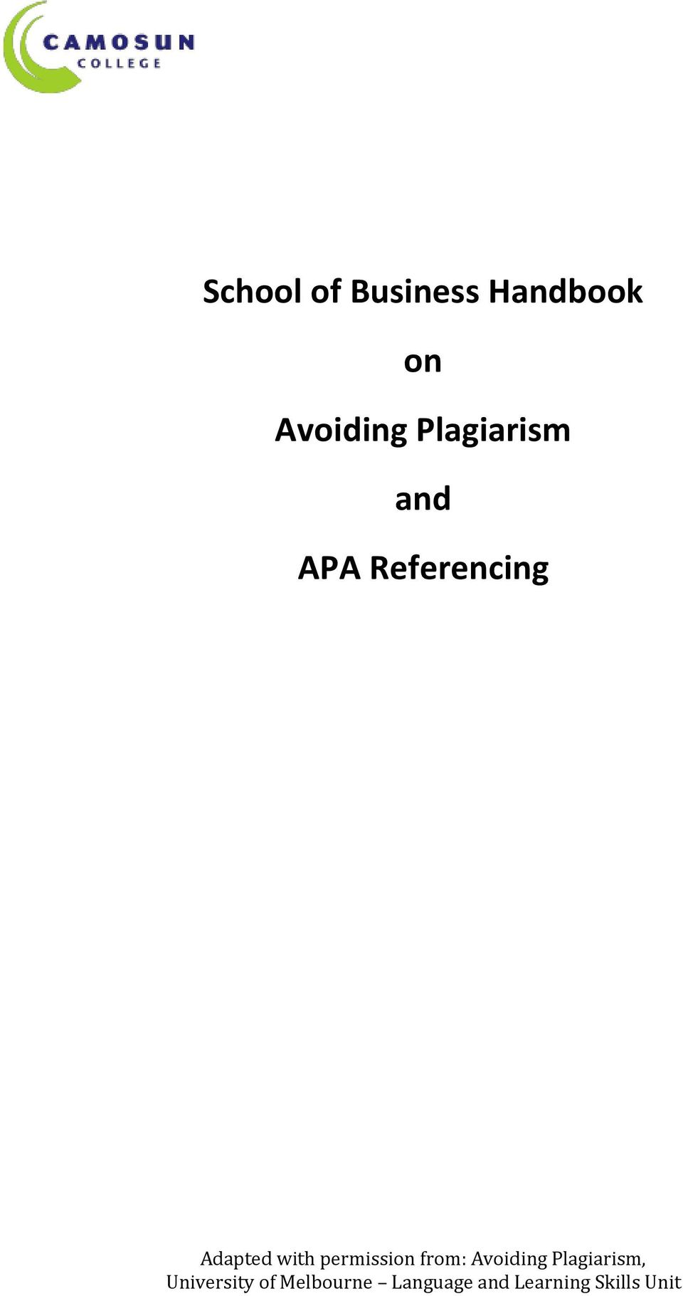 permission from: Avoiding Plagiarism,