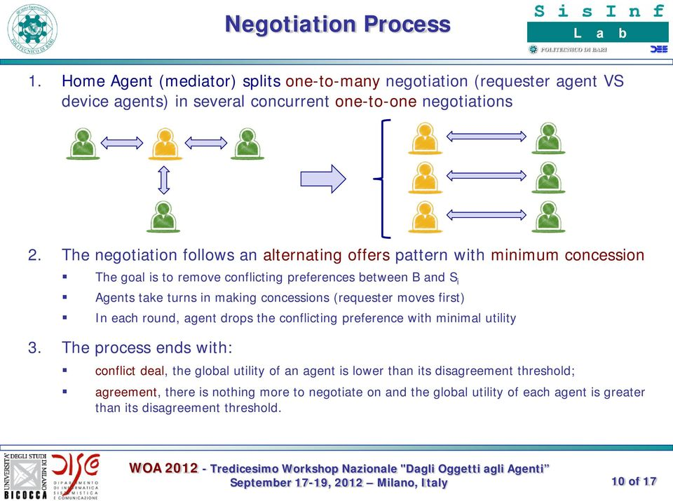 concessions (requester moves first) In each round, agent drops the conflicting preference with minimal utility 3.