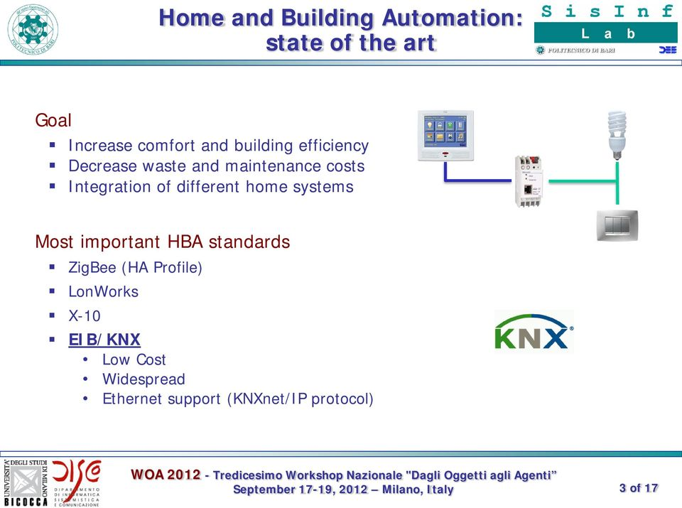 different home systems Most important HBA standards ZigBee (HA Profile)