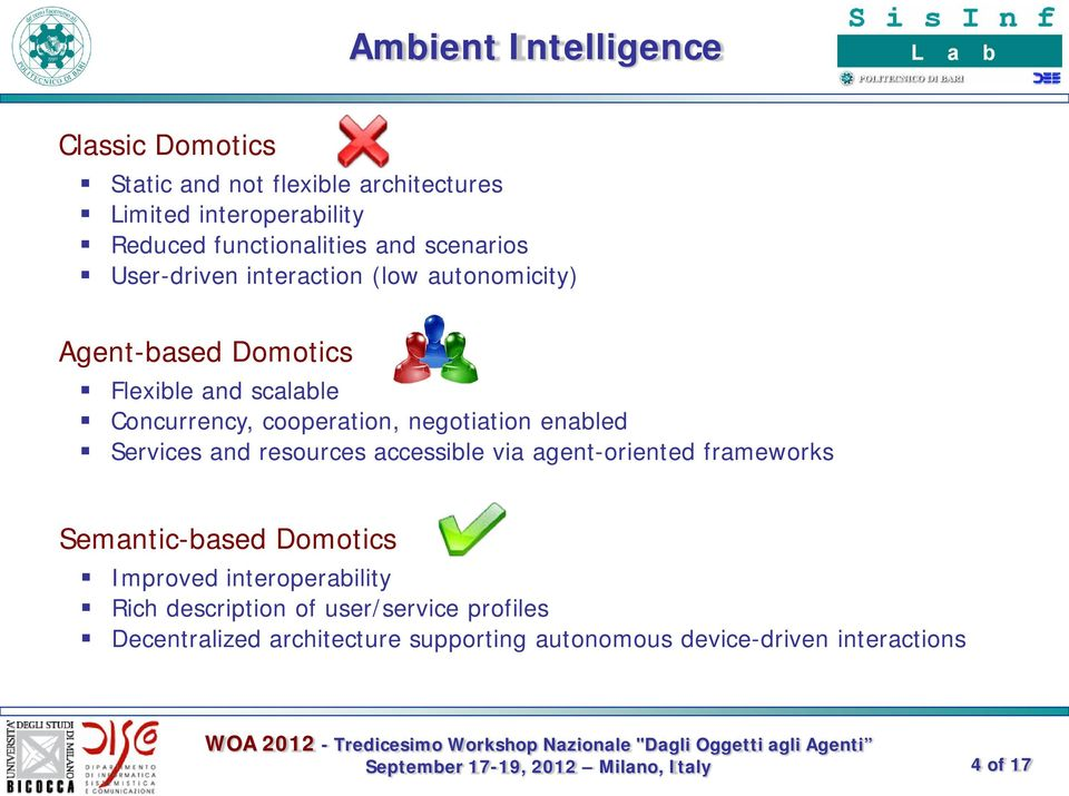 negotiation enabled Services and resources accessible via agent-oriented frameworks Semantic-based Domotics Improved