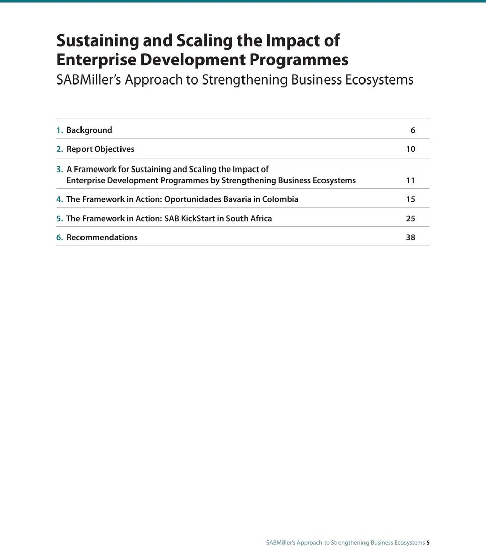 A Framework for Sustaining and Scaling the Impact of Enterprise Development Programmes by Strengthening Business Ecosystems 11