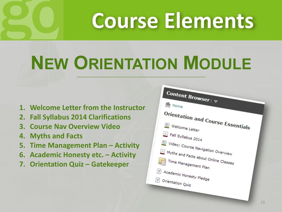 Fall Syllabus 2014 Clarifications 3. Course Nav Overview Video 4.