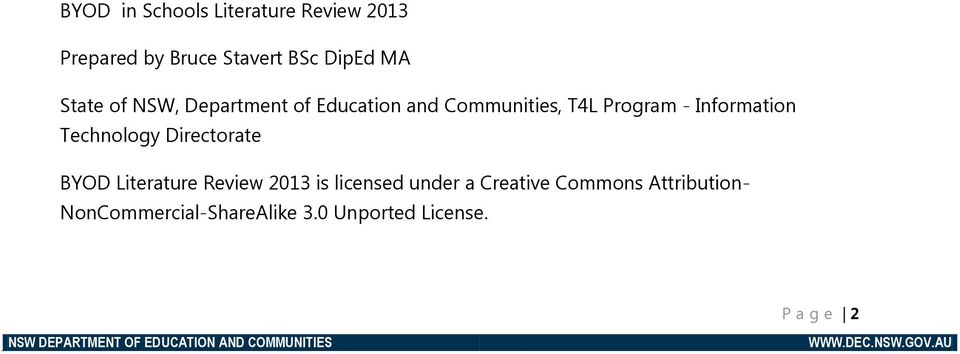 Information Technology Directorate BYOD Literature Review 2013 is licensed