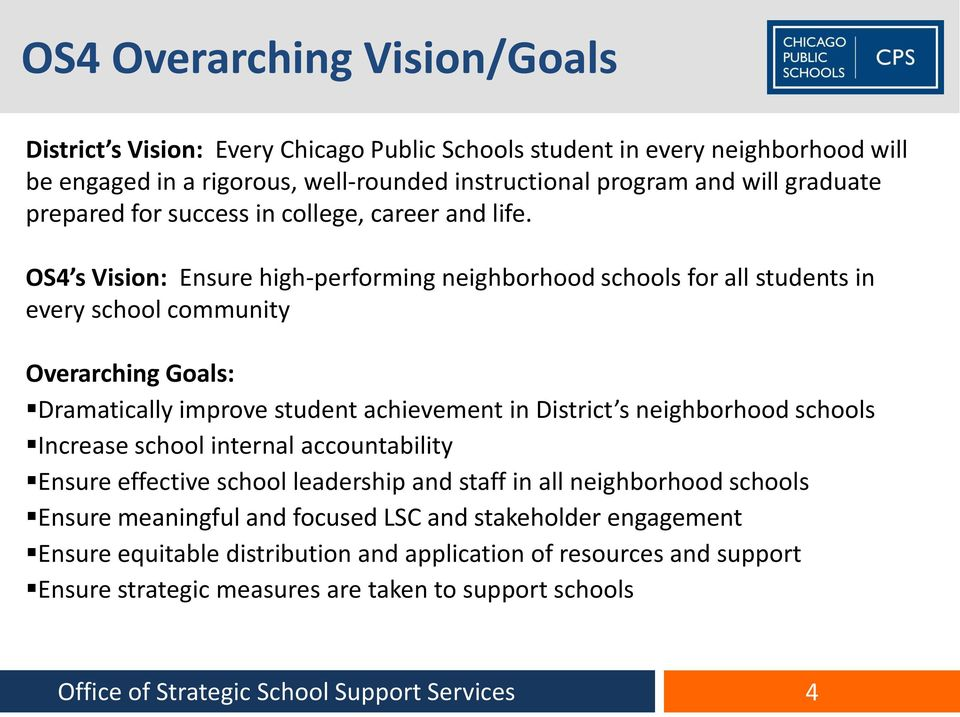 OS4 s Vision: Ensure high-performing neighborhood schools for all students in every school community Overarching Goals Overarching Goals: Dramatically improve student achievement in District s