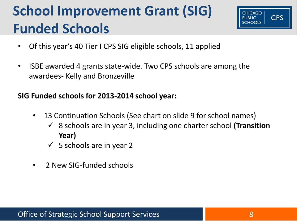 Two CPS schools are among the awardees- Kelly and Bronzeville SIG Funded schools for 2013-2014 school year: 13