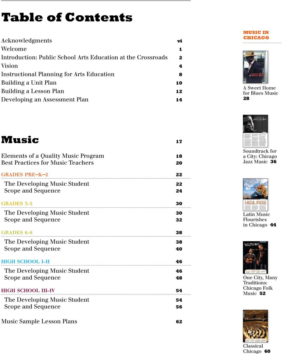 City: Chicago Jazz Music 36 grades pre-k 2 22 The Developing Music Student 22 Scope and Sequence 24 grades 3 5 30 The Developing Music Student 30 Scope and Sequence 32 grades 6 8 38 Latin Music