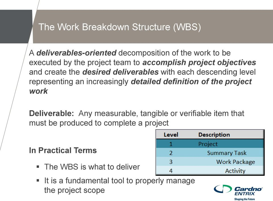 detailed definition of the project work Deliverable: Any measurable, tangible or verifiable item that must be produced to
